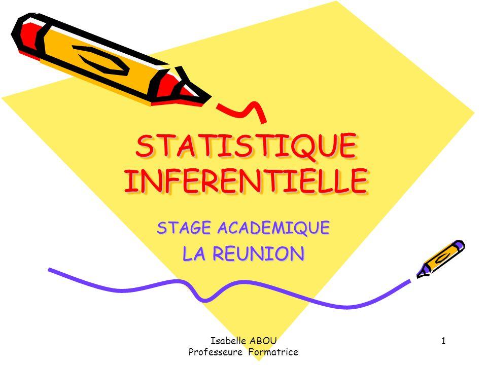 Isabelle ABOU Professeure Formatrice 1 STATISTIQUE INFERENTIELLE STAGE ACADEMIQUE LA REUNION