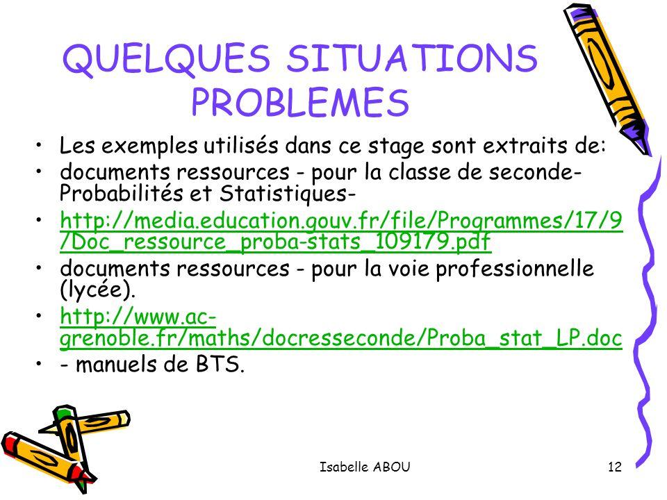 Isabelle ABOU12 QUELQUES SITUATIONS PROBLEMES Les exemples utilisés dans ce stage sont extraits de: documents ressources - pour la classe de seconde-