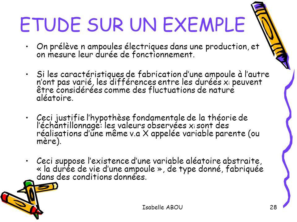 Isabelle ABOU28 ETUDE SUR UN EXEMPLE On prélève n ampoules électriques dans une production, et on mesure leur durée de fonctionnement. Si les caractér