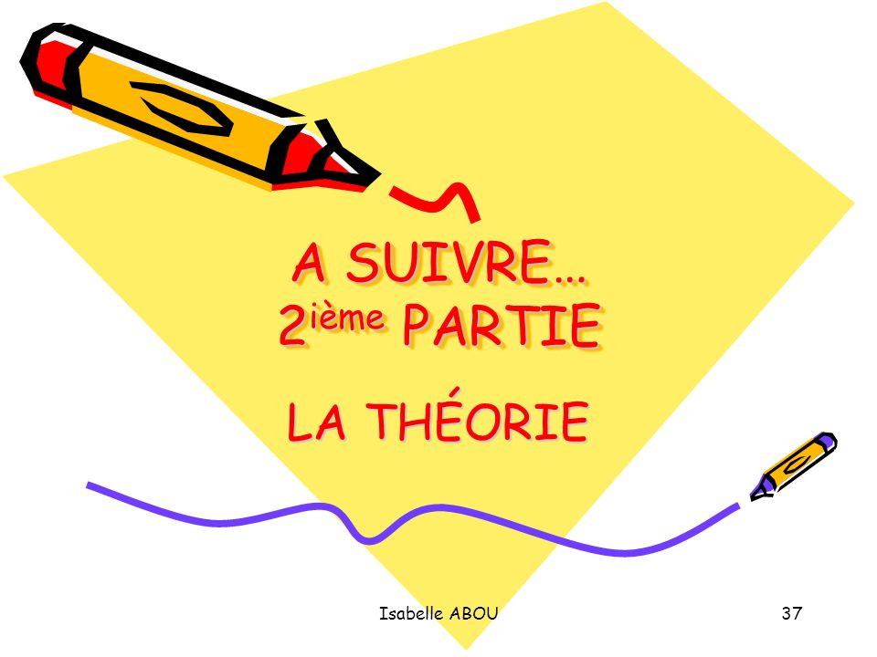 Isabelle ABOU37 A SUIVRE… 2 ième PARTIE LA THÉORIE
