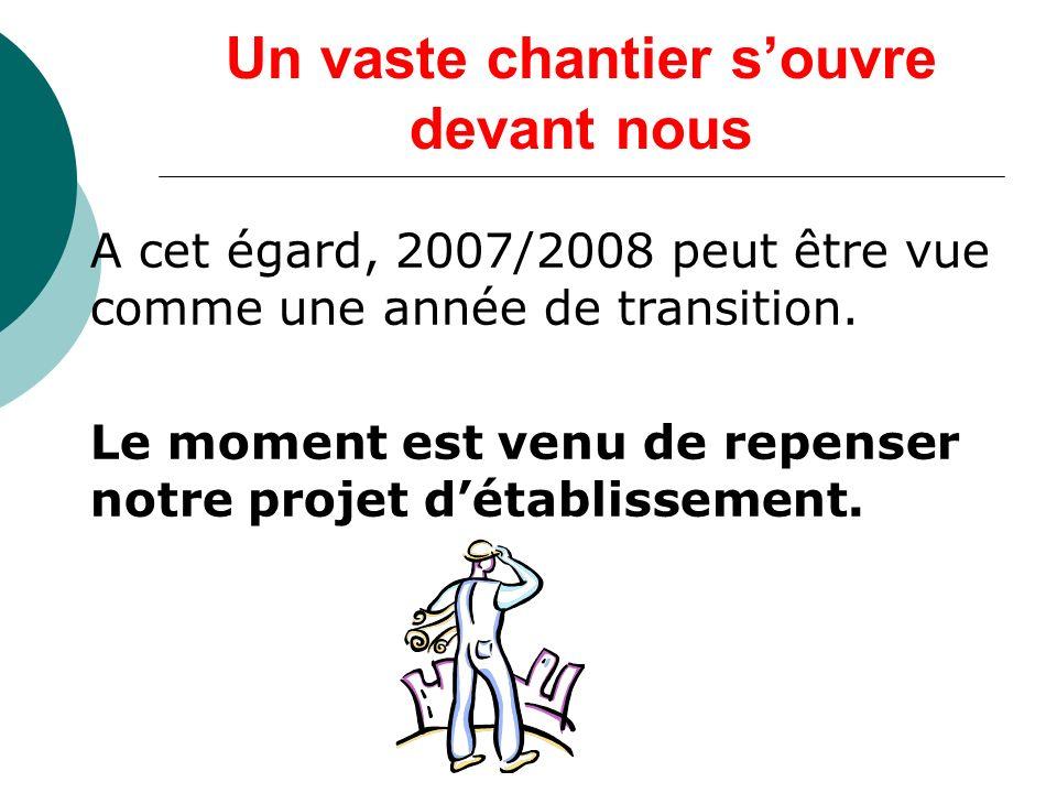 Un vaste chantier souvre devant nous A cet égard, 2007/2008 peut être vue comme une année de transition.