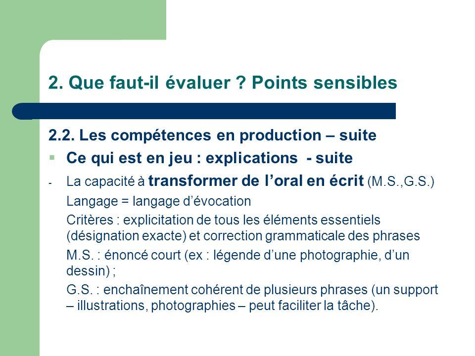 2. Que faut-il évaluer ? Points sensibles 2.2. Les compétences en production – suite Ce qui est en jeu : explications - suite - La capacité à transfor