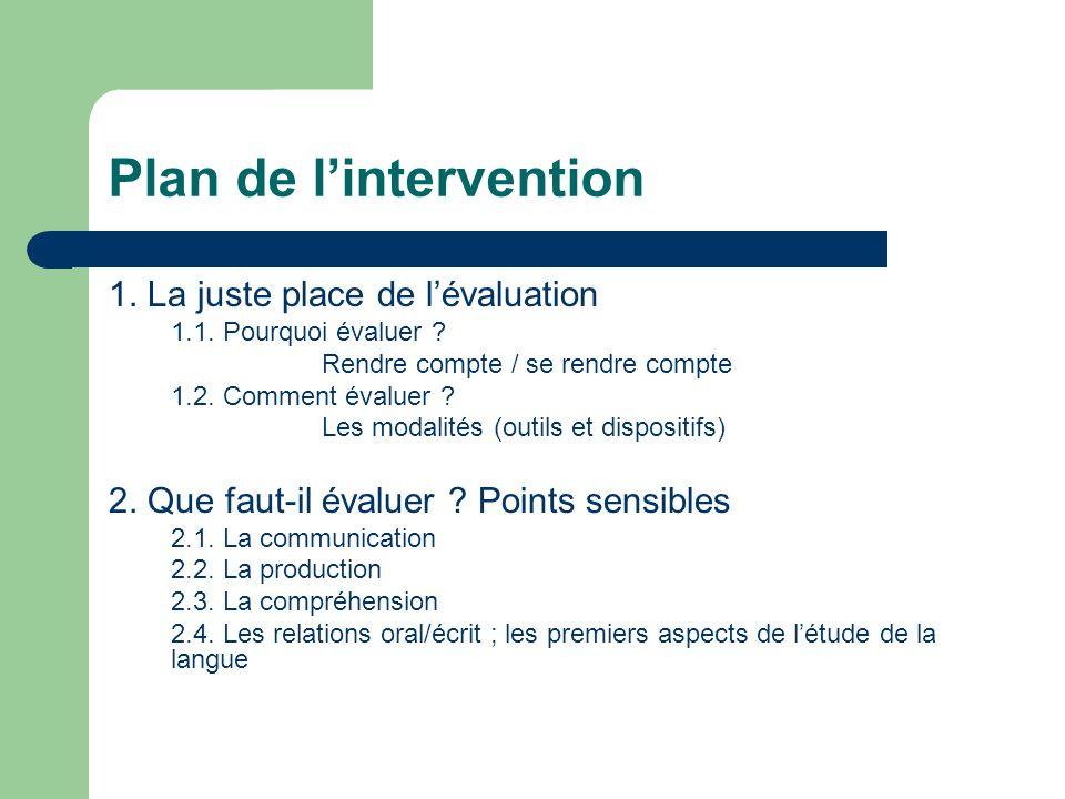 Plan de lintervention 1. La juste place de lévaluation 1.1. Pourquoi évaluer ? Rendre compte / se rendre compte 1.2. Comment évaluer ? Les modalités (