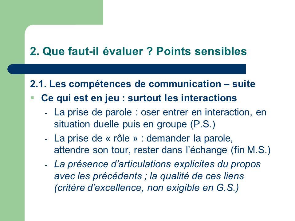 2. Que faut-il évaluer ? Points sensibles 2.1. Les compétences de communication – suite Ce qui est en jeu : surtout les interactions - La prise de par