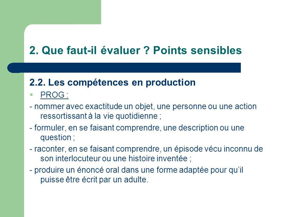 2. Que faut-il évaluer ? Points sensibles 2.2. Les compétences en production PROG : - nommer avec exactitude un objet, une personne ou une action ress