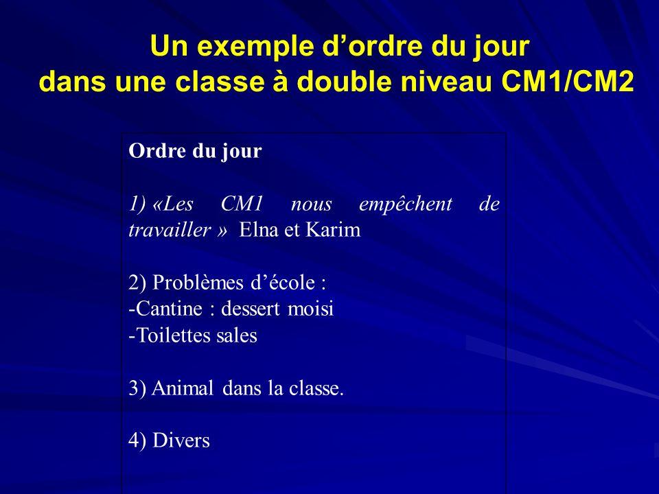 Un exemple dordre du jour dans une classe à double niveau CM1/CM2 Ordre du jour 1) «Les CM1 nous empêchent de travailler » Elna et Karim 2) Problèmes