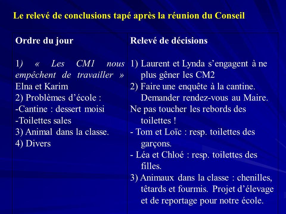 Le relevé de conclusions tapé après la réunion du Conseil Ordre du jour 1) « Les CM1 nous empêchent de travailler » Elna et Karim 2) Problèmes décole