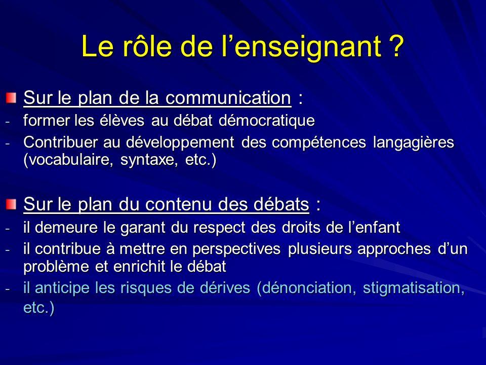 Le rôle de lenseignant ? Sur le plan de la communication : - former les élèves au débat démocratique - Contribuer au développement des compétences lan