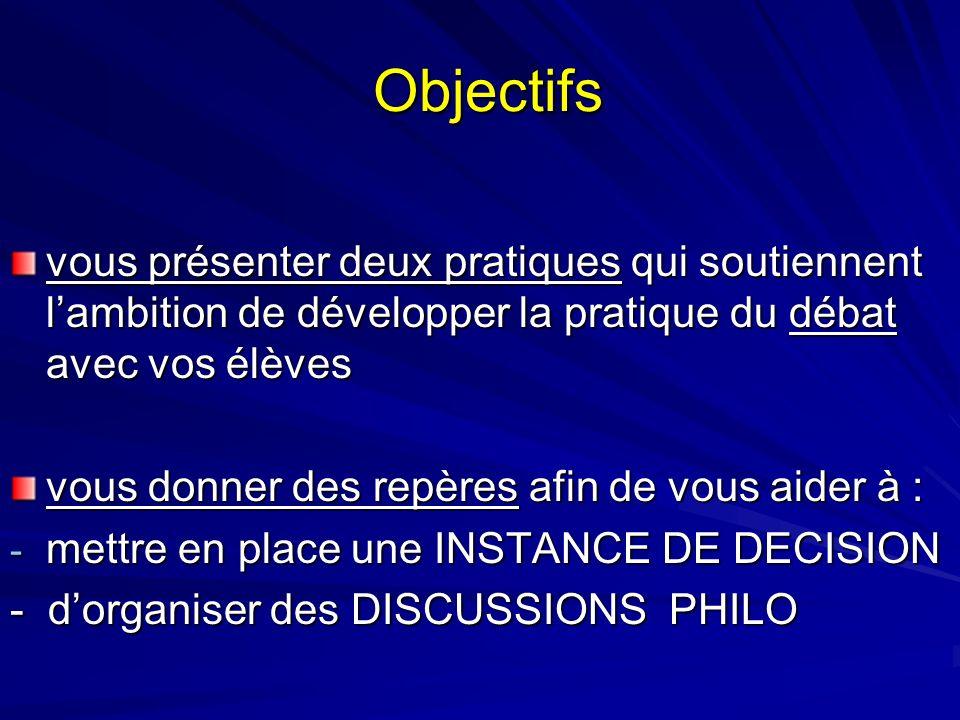 Objectifs Objectifs vous présenter deux pratiques qui soutiennent lambition de développer la pratique du débat avec vos élèves vous donner des repères