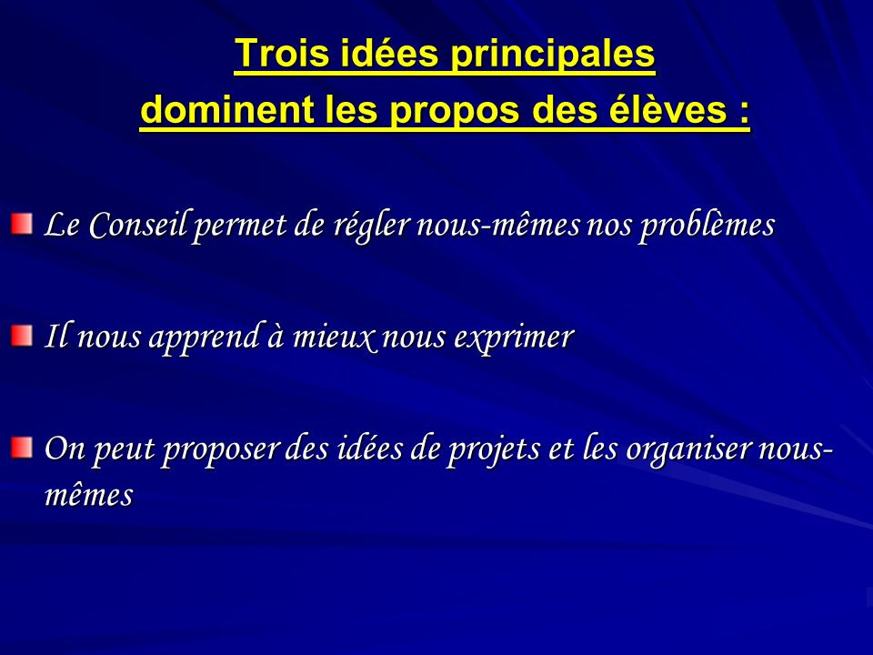 Trois idées principales dominent les propos des élèves : Le Conseil permet de régler nous-mêmes nos problèmes Le Conseil permet de régler nous-mêmes n