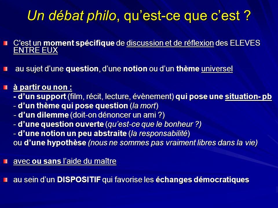 Un débat philo, quest-ce que cest ? C'est un moment spécifique de discussion et de réflexion des ELEVES ENTRE EUX C'est un moment spécifique de discus