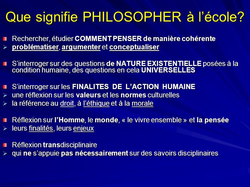 Que signifie PHILOSOPHER à lécole? Rechercher, étudier COMMENT PENSER de manière cohérente problématiser, argumenter et conceptualiser problématiser,