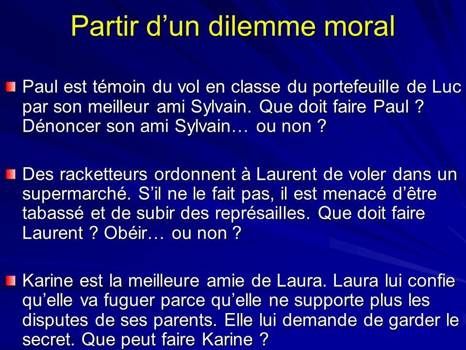 Partir dun dilemme moral Paul est témoin du vol en classe du portefeuille de Luc par son meilleur ami Sylvain. Que doit faire Paul ? Dénoncer son ami