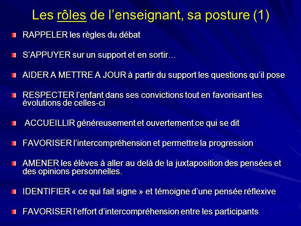 Les rôles de lenseignant, sa posture (1) RAPPELER les règles du débat SAPPUYER sur un support et en sortir… AIDER A METTRE A JOUR à partir du support