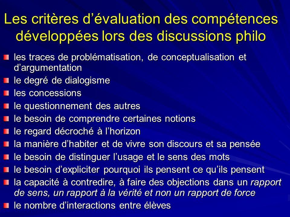 Les critères dévaluation des compétences développées lors des discussions philo les traces de problématisation, de conceptualisation et dargumentation