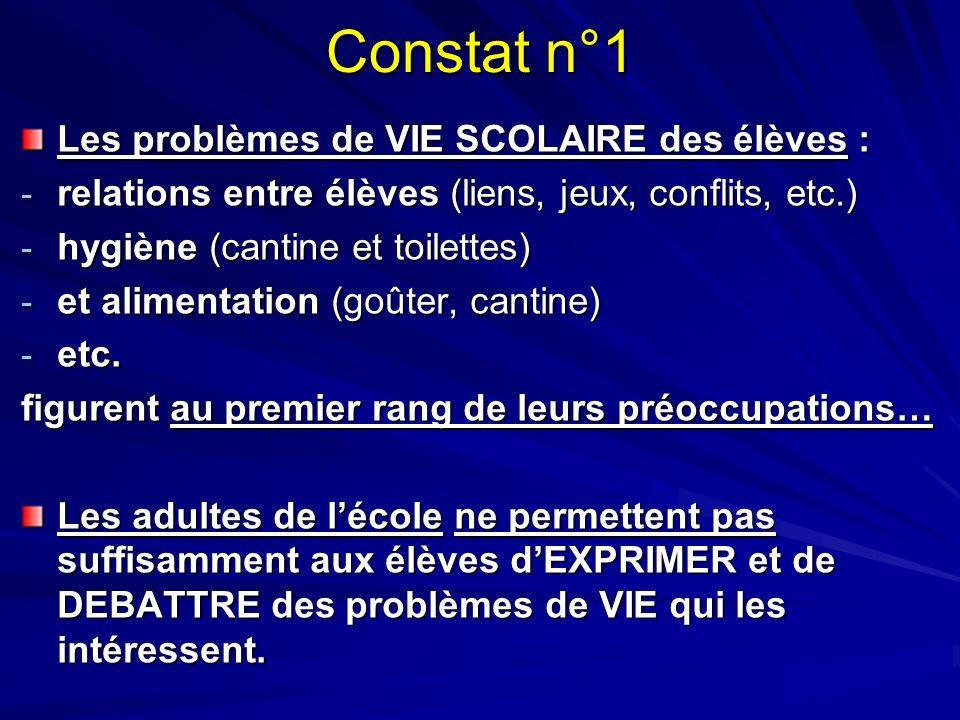 Constat n°1 Les problèmes de VIE SCOLAIRE des élèves : - relations entre élèves (liens, jeux, conflits, etc.) - hygiène (cantine et toilettes) - et al
