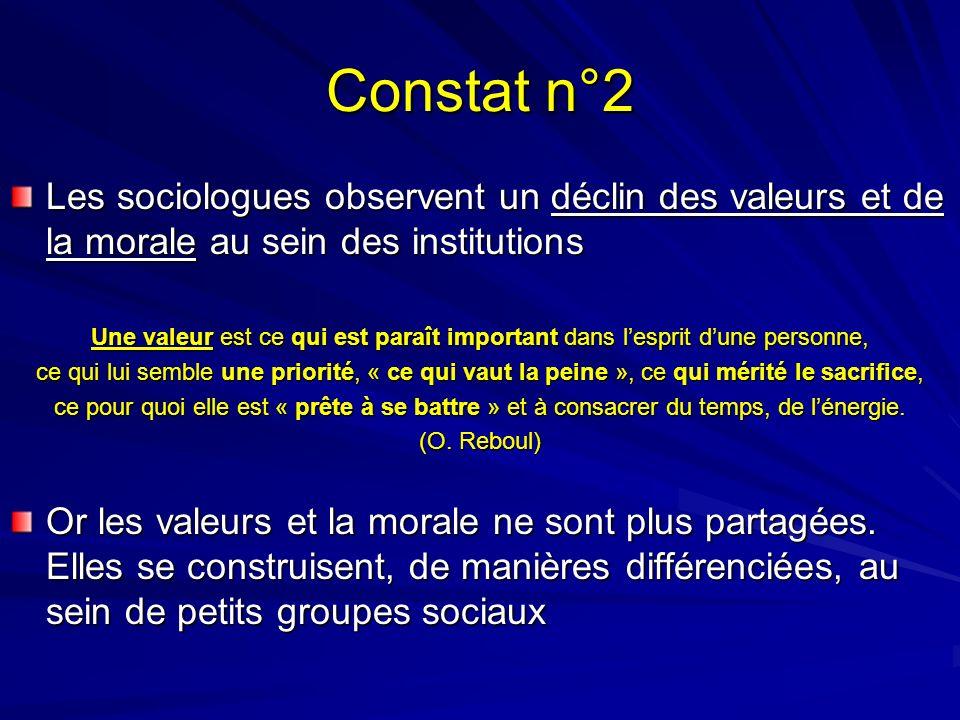 Constat n°2 Les sociologues observent un déclin des valeurs et de la morale au sein des institutions Une valeur est ce qui est paraît important dans l