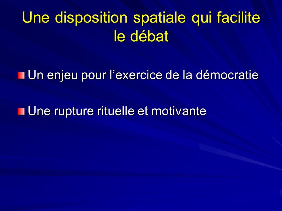 Une disposition spatiale qui facilite le débat Un enjeu pour lexercice de la démocratie Une rupture rituelle et motivante