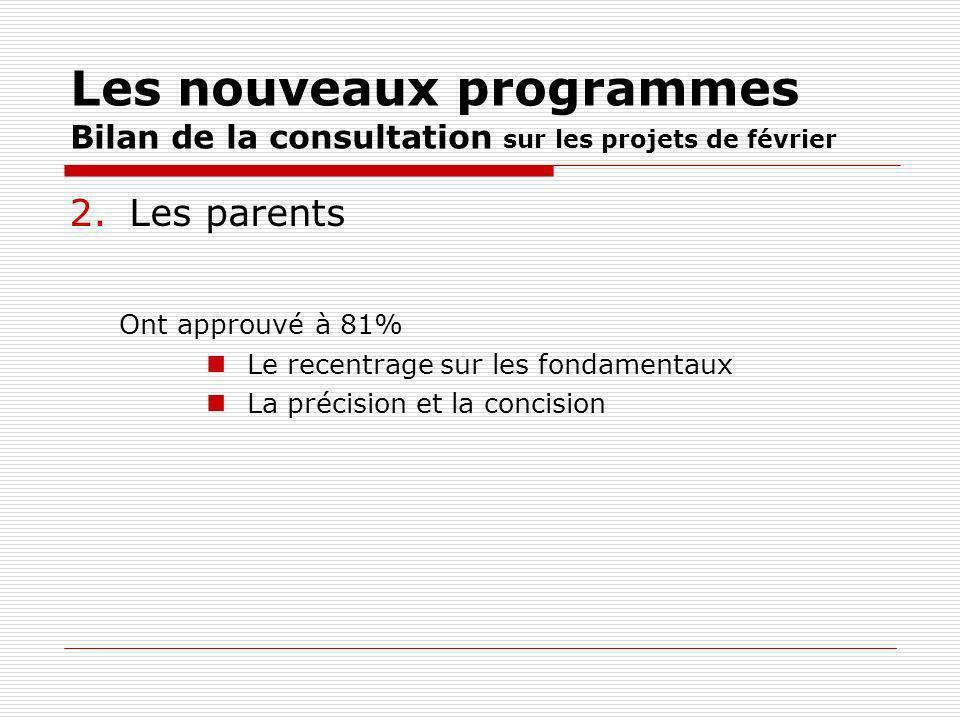 Les nouveaux programmes Bilan de la consultation sur les projets de février 2.Les parents Ont approuvé à 81% Le recentrage sur les fondamentaux La précision et la concision
