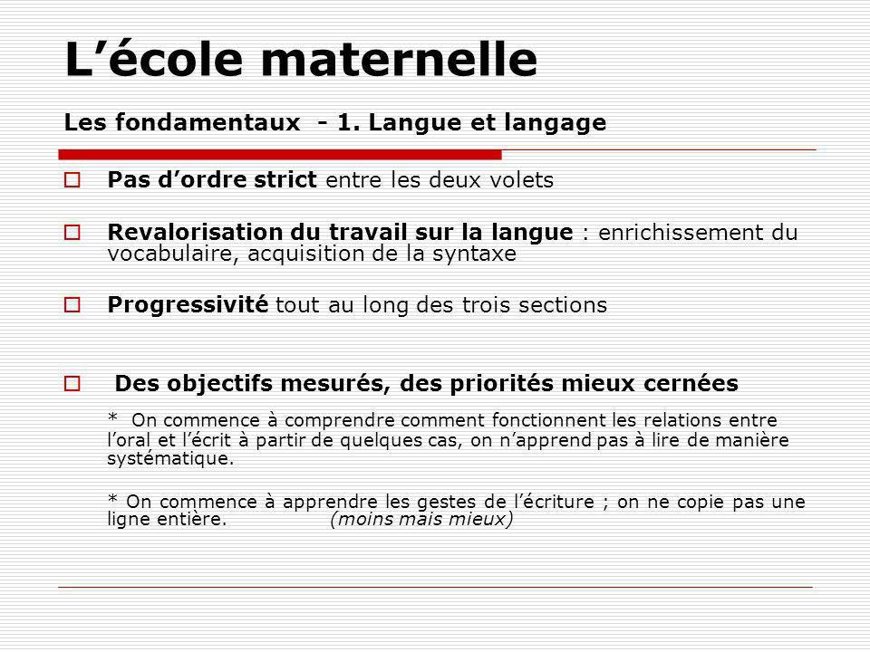 Lécole maternelle Les fondamentaux - 1.