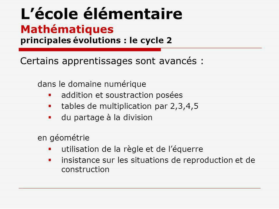 Lécole élémentaire Mathématiques principales évolutions : le cycle 2 Certains apprentissages sont avancés : dans le domaine numérique addition et soustraction posées tables de multiplication par 2,3,4,5 du partage à la division en géométrie utilisation de la règle et de léquerre insistance sur les situations de reproduction et de construction