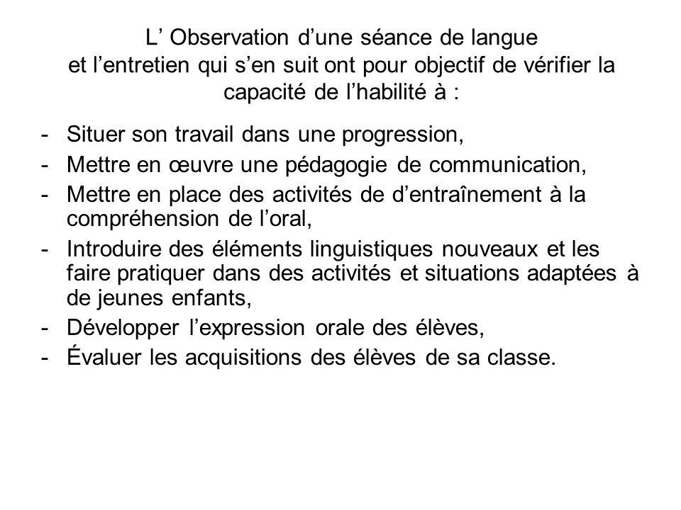 L Observation dune séance de langue et lentretien qui sen suit ont pour objectif de vérifier la capacité de lhabilité à : -Situer son travail dans une