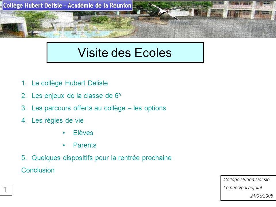 Visite des Ecoles Collège Hubert Delisle Rentrée 2007 1.Le collège Hubert Delisle 2.Les enjeux de la classe de 6 e 3.Les parcours offerts au collège –