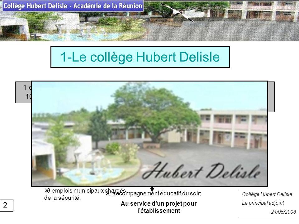 1-Le collège Hubert Delisle Collège Hubert Delisle Rentrée 2007 Collège Hubert Delisle Le principal adjoint 21/05/2008 1 collège qui scolarise près de