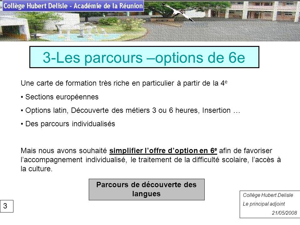3-Les parcours –options de 6e Collège Hubert Delisle Rentrée 2007 Collège Hubert Delisle Le principal adjoint 21/05/2008 Parcours de découverte des la