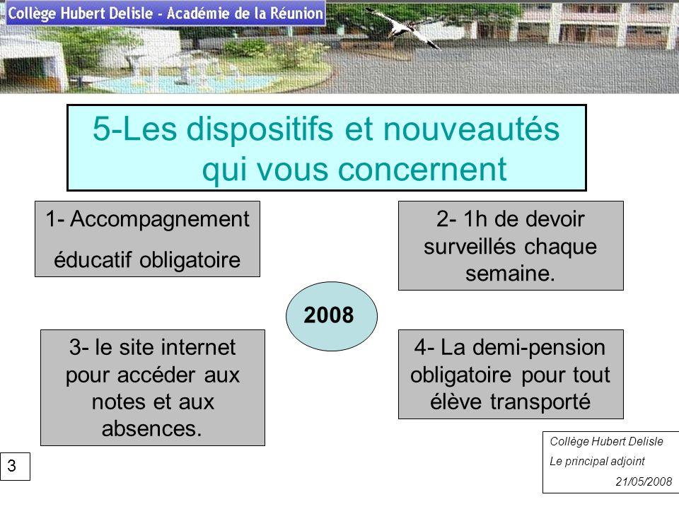 5-Les dispositifs et nouveautés qui vous concernent Collège Hubert Delisle Rentrée 2007 Collège Hubert Delisle Le principal adjoint 21/05/2008 3 1- Ac