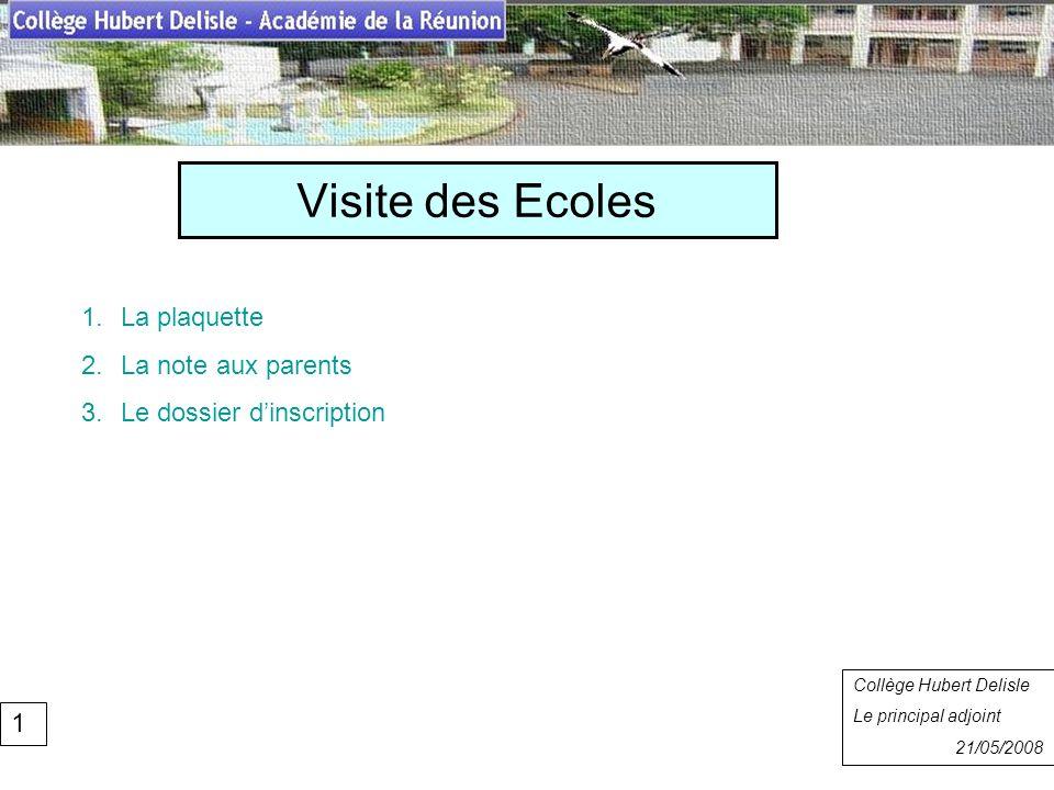 Visite des Ecoles Collège Hubert Delisle Rentrée 2007 1.La plaquette 2.La note aux parents 3.Le dossier dinscription Collège Hubert Delisle Le princip