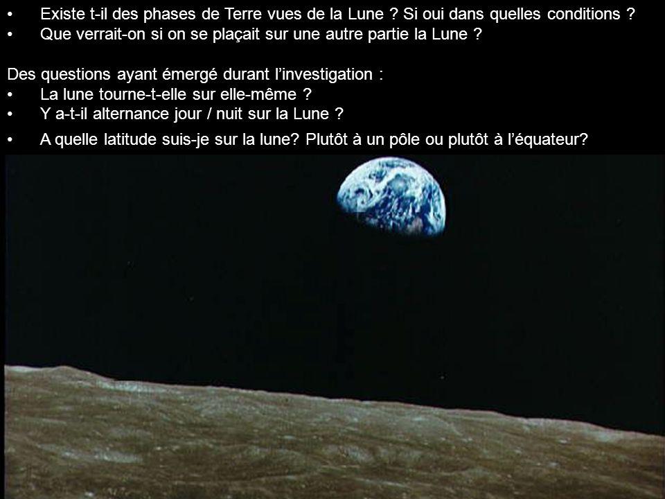 Existe t-il des phases de Terre vues de la Lune ? Si oui dans quelles conditions ? Que verrait-on si on se plaçait sur une autre partie la Lune ? Des