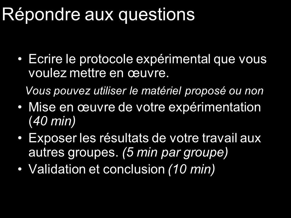 Répondre aux questions Ecrire le protocole expérimental que vous voulez mettre en œuvre. Vous pouvez utiliser le matériel proposé ou non Mise en œuvre