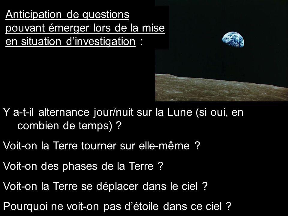 Anticipation de questions pouvant émerger lors de la mise en situation dinvestigation : Y a-t-il alternance jour/nuit sur la Lune (si oui, en combien de temps) .
