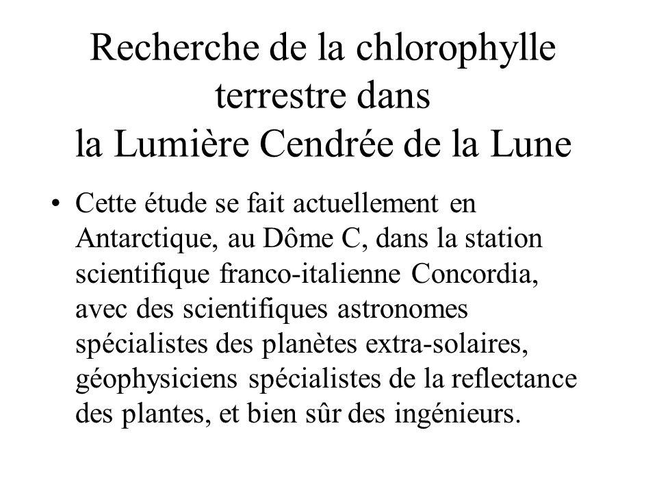 Recherche de la chlorophylle terrestre dans la Lumière Cendrée de la Lune Cette étude se fait actuellement en Antarctique, au Dôme C, dans la station