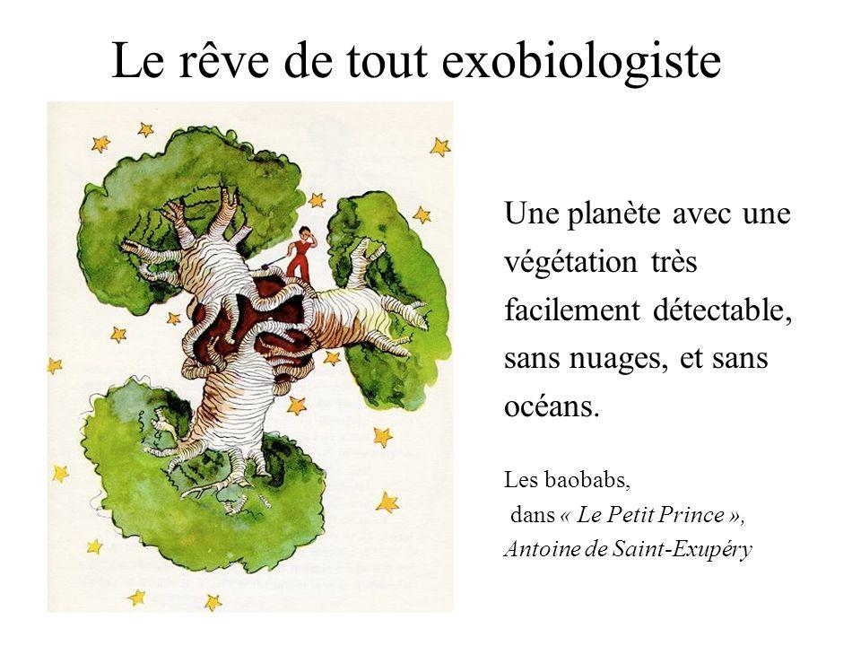 Le rêve de tout exobiologiste Une planète avec une végétation très facilement détectable, sans nuages, et sans océans. Les baobabs, dans « Le Petit Pr