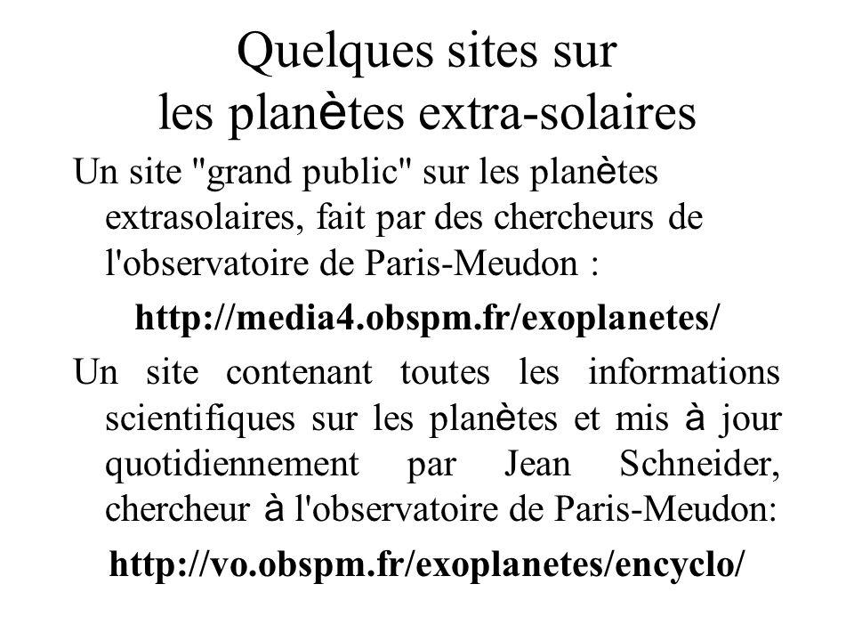 Quelques sites sur les plan è tes extra-solaires Un site