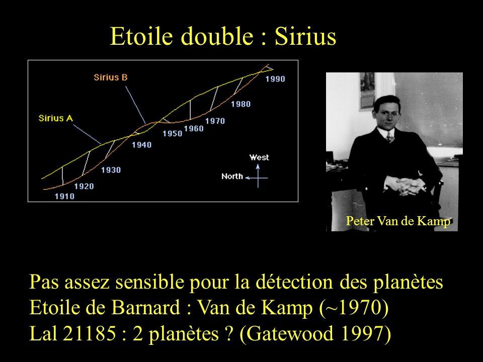 Etoile double : Sirius Pas assez sensible pour la détection des planètes Etoile de Barnard : Van de Kamp (~1970) Lal 21185 : 2 planètes ? (Gatewood 19