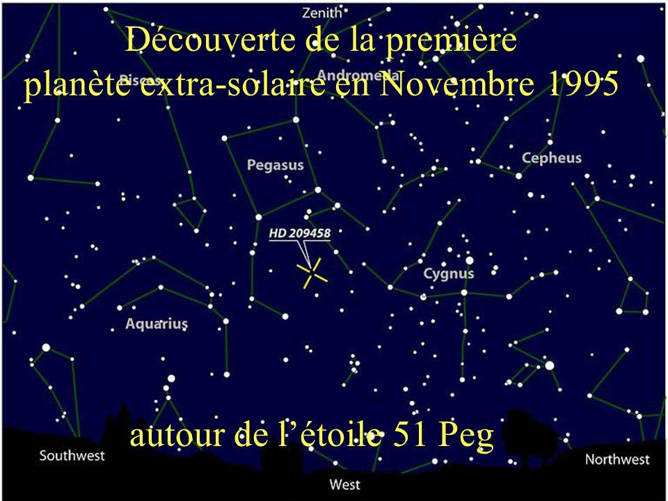 Découverte de la première planète extra-solaire en Novembre 1995 autour de létoile 51 Peg