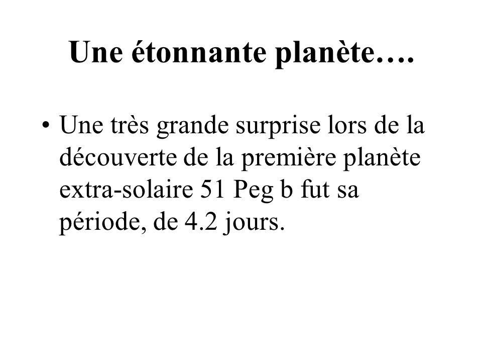 Une étonnante planète…. Une très grande surprise lors de la découverte de la première planète extra-solaire 51 Peg b fut sa période, de 4.2 jours.