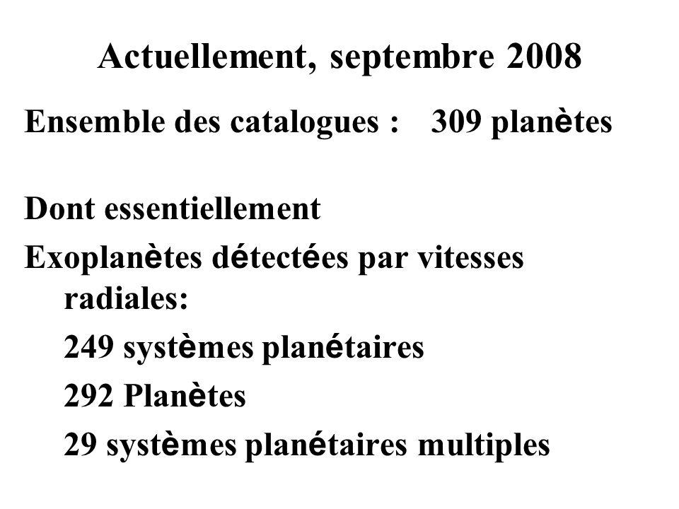 Actuellement, septembre 2008 Ensemble des catalogues :309 plan è tes Dont essentiellement Exoplan è tes d é tect é es par vitesses radiales: 249 syst