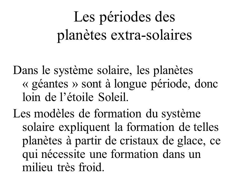 Les périodes des planètes extra-solaires Dans le système solaire, les planètes « géantes » sont à longue période, donc loin de létoile Soleil. Les mod