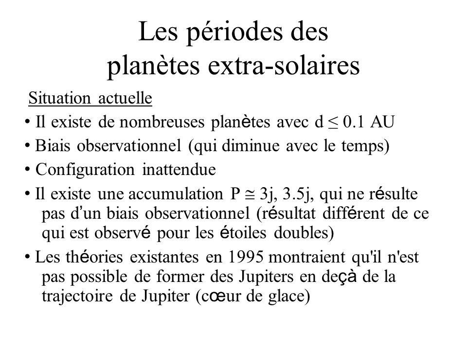 Les périodes des planètes extra-solaires Situation actuelle Il existe de nombreuses plan è tes avec d 0.1 AU Biais observationnel (qui diminue avec le