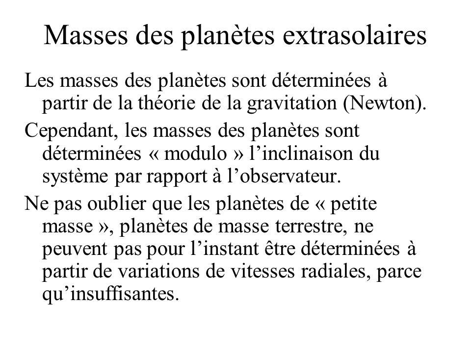 Masses des planètes extrasolaires Les masses des planètes sont déterminées à partir de la théorie de la gravitation (Newton). Cependant, les masses de
