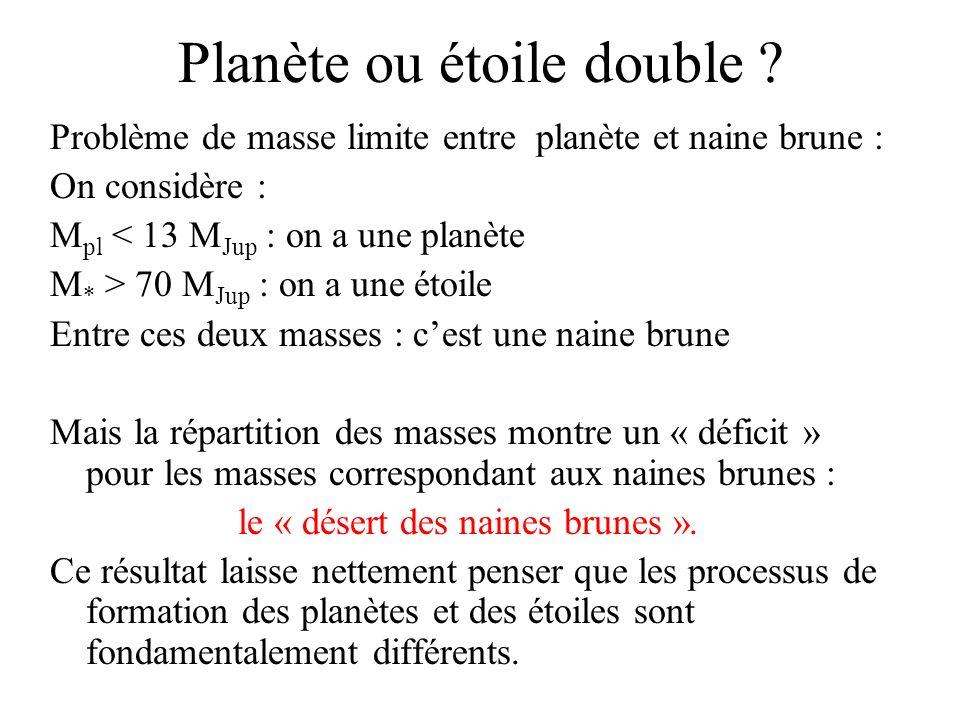Planète ou étoile double ? Problème de masse limite entre planète et naine brune : On considère : M pl < 13 M Jup : on a une planète M * > 70 M Jup :