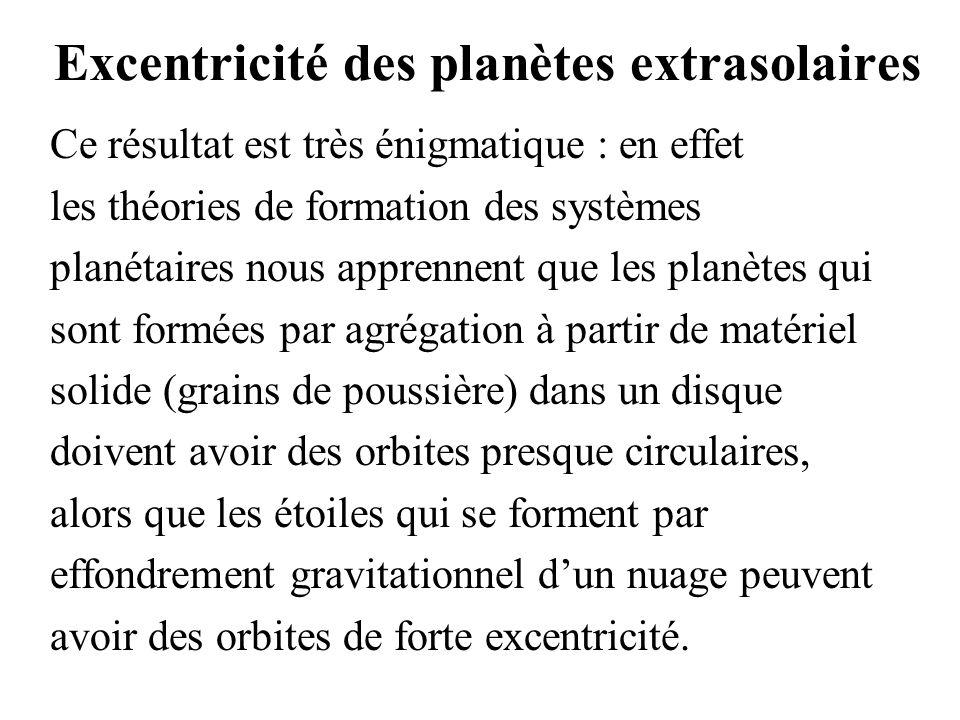 Excentricité des planètes extrasolaires Ce résultat est très énigmatique : en effet les théories de formation des systèmes planétaires nous apprennent