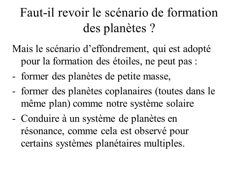 Faut-il revoir le scénario de formation des planètes ? Mais le scénario deffondrement, qui est adopté pour la formation des étoiles, ne peut pas : -fo