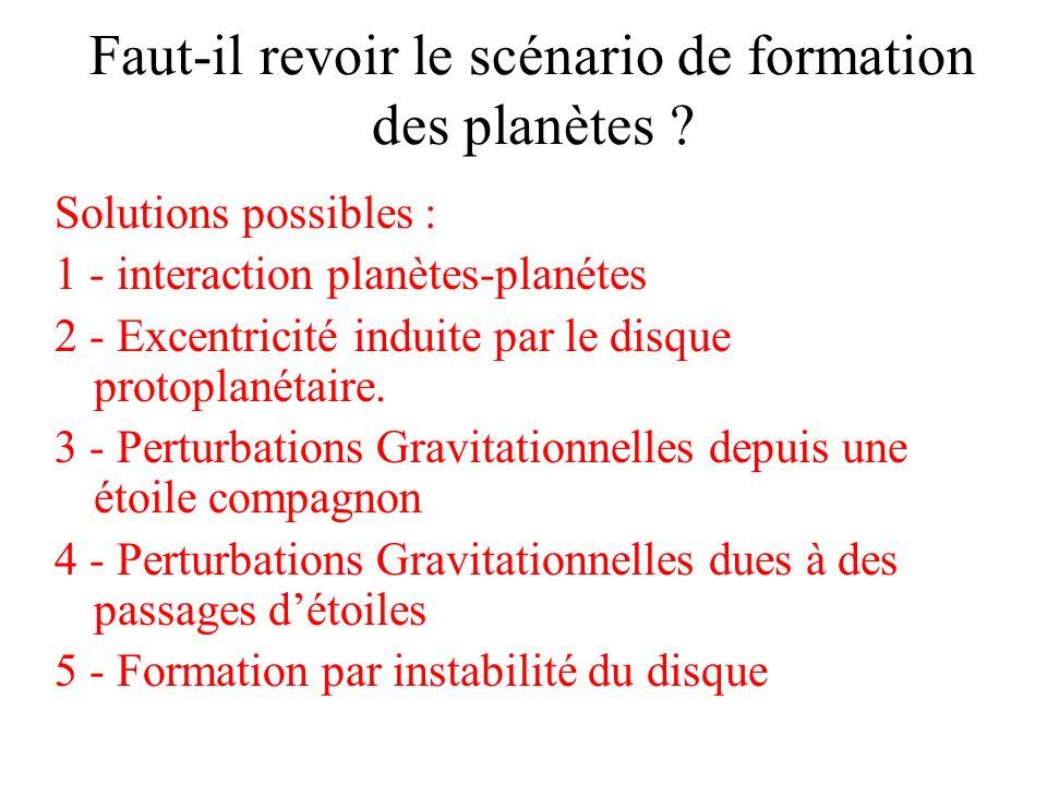 Faut-il revoir le scénario de formation des planètes ? Solutions possibles : 1 - interaction planètes-planétes 2 - Excentricité induite par le disque