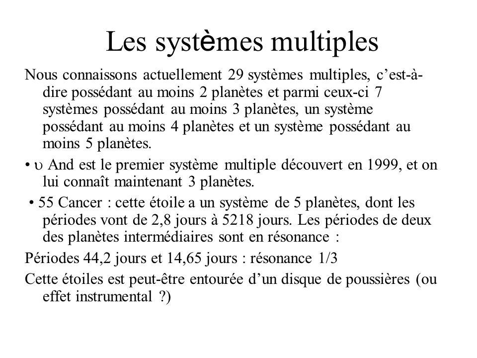 Les syst è mes multiples Nous connaissons actuellement 29 systèmes multiples, cest-à- dire possédant au moins 2 planètes et parmi ceux-ci 7 systèmes p