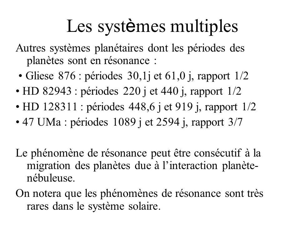 Les syst è mes multiples Autres systèmes planétaires dont les périodes des planètes sont en résonance : Gliese 876 : périodes 30,1j et 61,0 j, rapport
